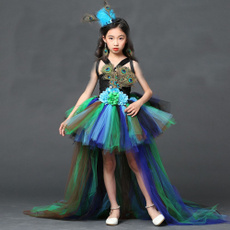 peacockpartydres, gowns, girlsfeatherdres, Peacock Dress