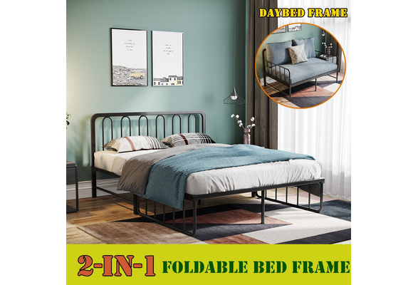 HTNBO 200 x 120 cm// 79x47 Simple Nordic Style Foldable Iron Daybed Bed Frame with Headboard Premium Steel Slat Support Mattres Sofa Black Queen