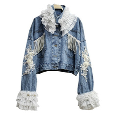 Fashion, floraljacket, Lace, denimcoatforwomen