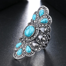 Antique, Turquoise, crystal ring, Gray