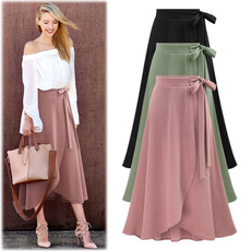bowknot, long skirt, Plus Size, Elastic