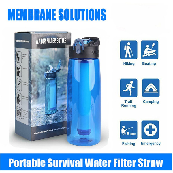 Portable Outdoor Water Filter Purifier Bottle Emergency Survival Tool For Hiking
