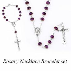 Fashion, Christian, religiouscatholicrosarynecklace, Glass