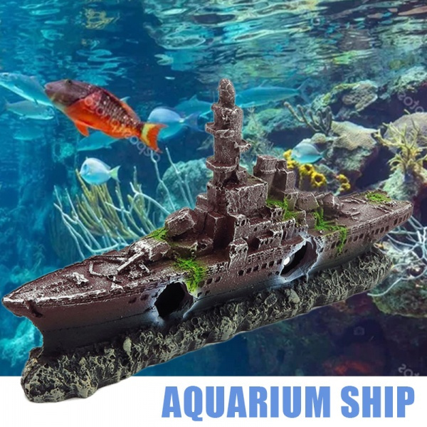 Aquarium Ship Wreck Ornament Destroyer Navy War Boat Fish Tank Cave Decor Wish