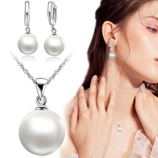 earringforwomen, Sterling, pearlpendantnecklace, Jewelry