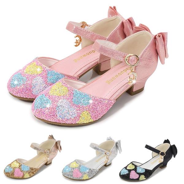 Furdeour Girls Sandals Glittler Bow Dress Shoes Princess Crystal High Heels Party Wedding Flower Girls Shoes for Kid Toddler
