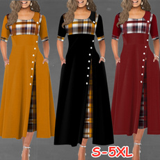 Plus Size, Plaid Dress, Sleeve, long dress