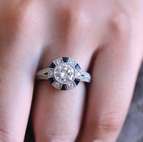 Sterling, Engagement, Princess, 925 silver rings
