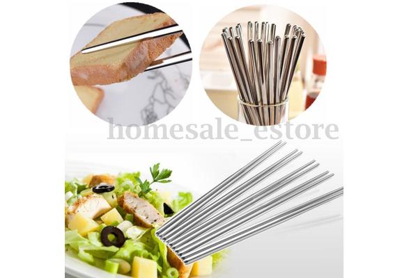 5 10 Pairs Stainless Steel Square Chopsticks Chinese Stylish Healthy Light Weight Chinese Chopsticks Metal Non Slip Design Kitchen Wish