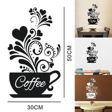 PVC wall stickers, Coffee, Flowers, 3ddiywallsticker