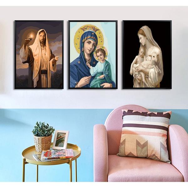 catholic, Decor, religiousoilpainting, Wall Art