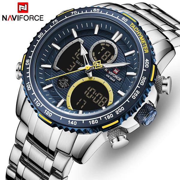 bigdialquartzwatch, analogdigitalwatch, naviforce, Waterproof