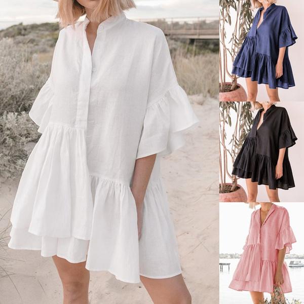 Mini, dressesforwomen, ruffle, Summer