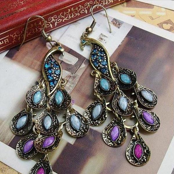 peacock, trending, Dangle Earring, Jewelry