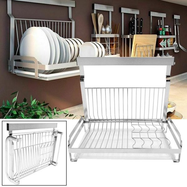 Wall Mounted Dish Rack Hanging Rod Foldable Dish Drying Drainboard Drainer Wish Note that some makers call these wall mounted power racks. wish