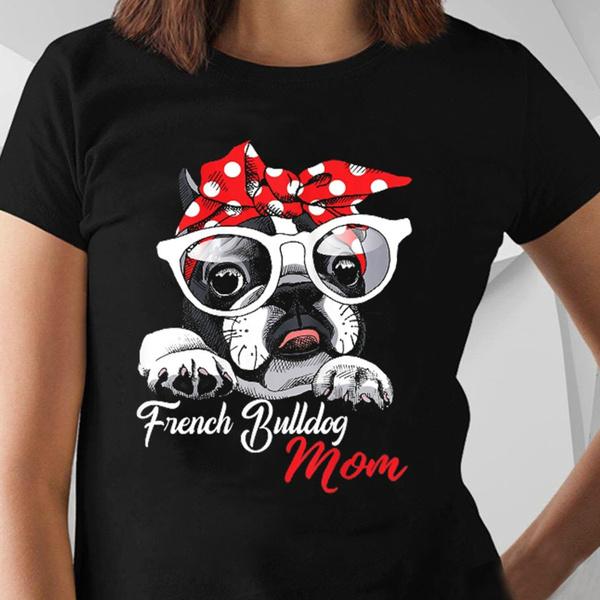 Women, Cotton T Shirt, bulldog, Women's Fashion