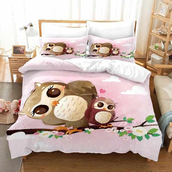 3d Printed Cartoon Owl Bedding Sets, Brown Owl Bedding