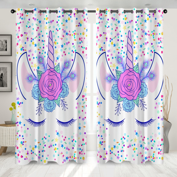 Star Point Unicorn Curtains For Living Room Blackout Thick Bedroom Curtains Sleeping Room Big Window Drapes For Girls Kids Set Of 2 Panels Wish
