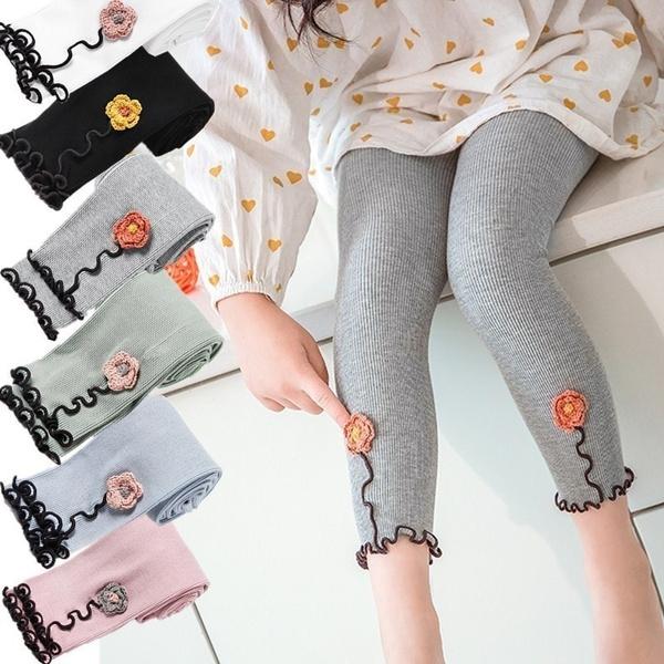 1pc Spring New Thin Stripe Cotton Flower Ruffle Nine Point Leggings Pants For Kids Girls Gift Wish