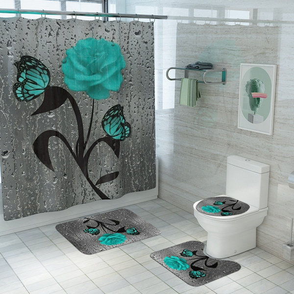 butterflyshowercurtainset, butterfly, Bathroom, Green