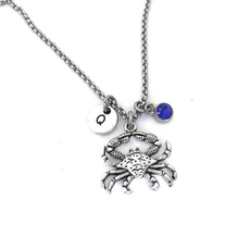 personalizedinitialnecklace, Chain Necklace, crabgift, Jewelry