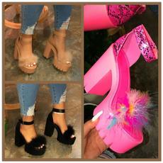 Summer, Sandals, thickheel, thicksole