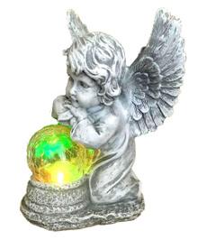 outdoorfigurinelight, Decor, angelwithsolarglowingglobe, Garden