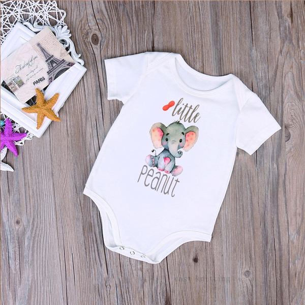Baby Shower Gift Funny Baby Bodysuit Elephant Baby Bodysuit Little Peanut Baby Bodysuit Newborn Baby Clothes Cute Baby Clothes
