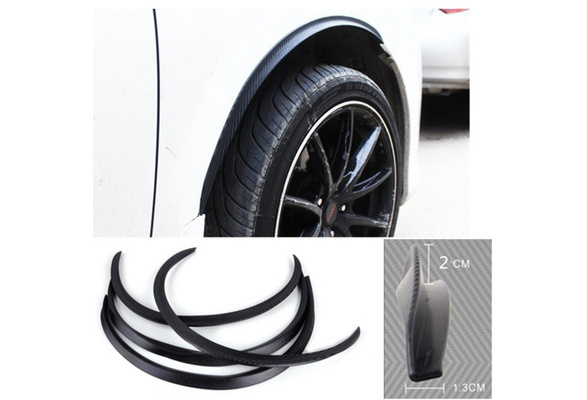 DDmoby 2 Pcs Universal 9.8 Car Wheel Fender Flares Car Carbon Fiber Rubber Trim Wheel Eyebrow Protector Black Fit Car Suvs Pickup Truck