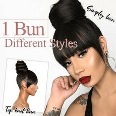 Synthetic, wig, bang, bun