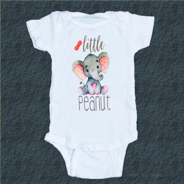 Baby Romper Cute Baby Little Peanut baby Romper Short Sleeve White Romper Happy baby Cute New Mom Peanut Little Peanut Baby Shower