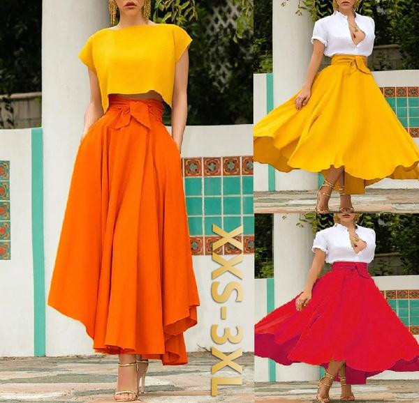 Summer, long skirt, Plus Size, Waist