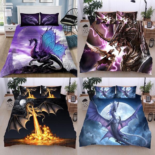 Goth, Fashion, beddingsetsqueen, dragonprint