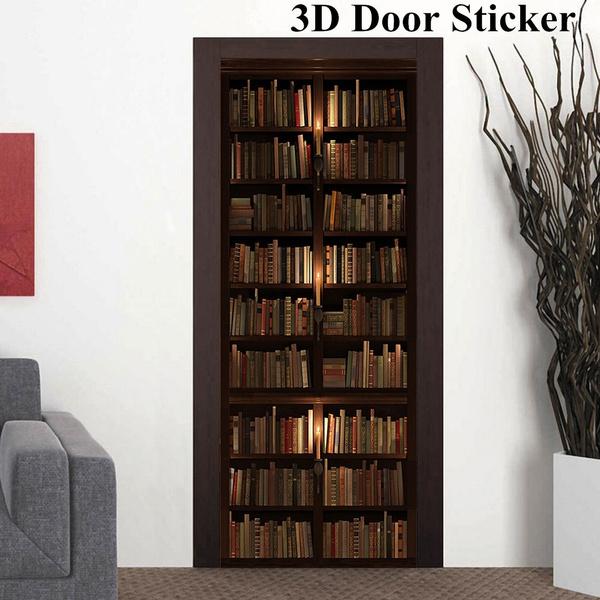 Wall Decor 3d Creative Door Retro Bookcase Bookshelf Self Adhesive Sticker Decal Art Home Room Doors Renovation Waterproof Oilproof Stickers 77 200cm Wish