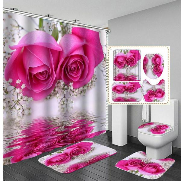 Toilet Cover Mat Non Slip Bathroom Rug, Flower Bathroom Sets