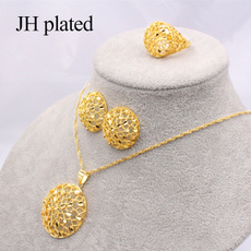 ethiopia24kgoldcolorjewelryset, gold, necklaceandearringsringjewelryset, 24-k