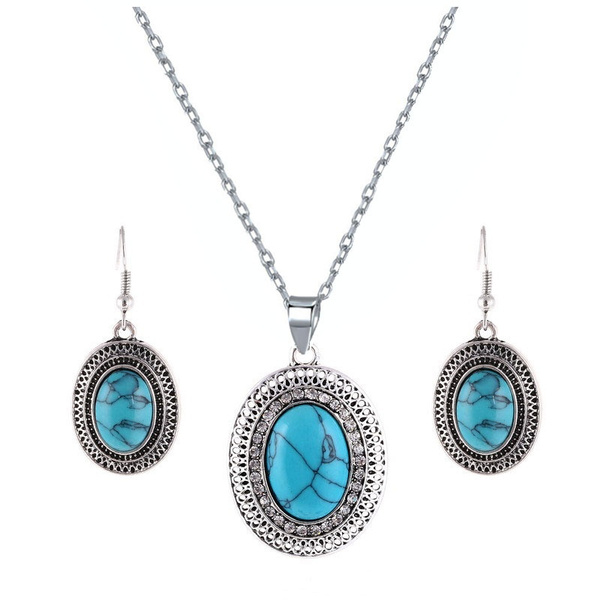silver plated, Turquoise, Dangle Earring, ovalpendant