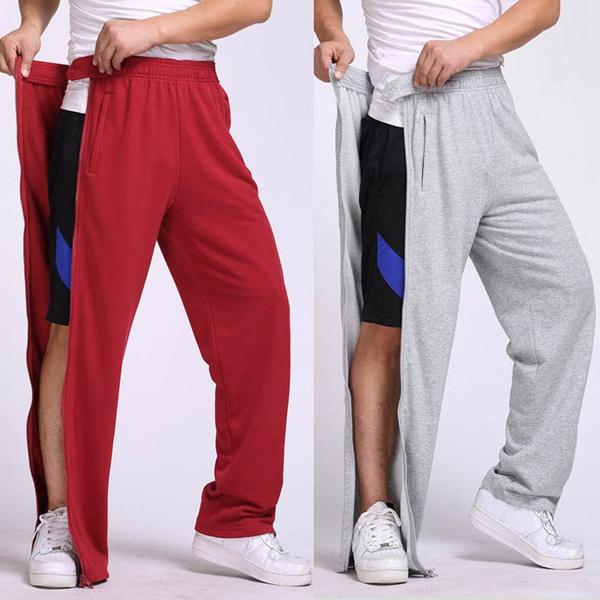 runningpant, elastic waist, pants, sidezipper