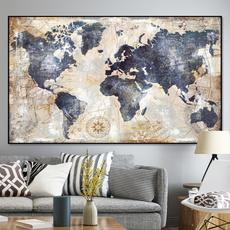Map, art, noframe, living room