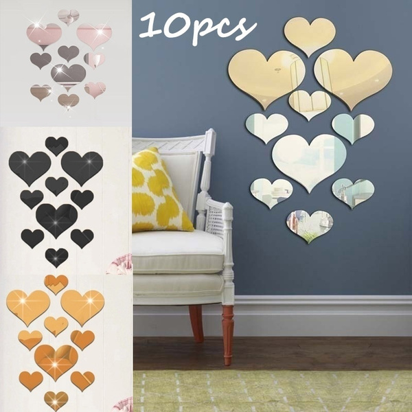 Heart, Love, acrylicmirrorwallsticker, Fashion wall sticker