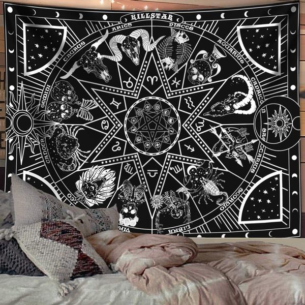 Wall Art, mandalatapestry, tapestryhippie, tapestryblackandwhite