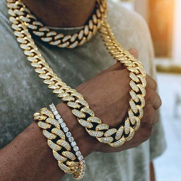 Men Jewelry, Steel, DIAMOND, gold
