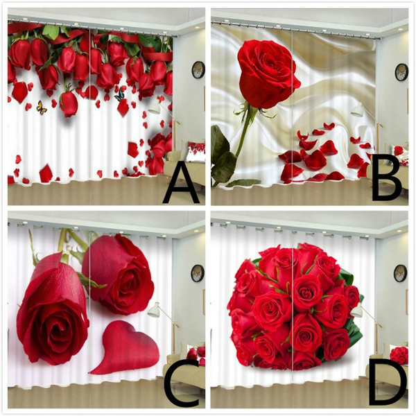 Luxury, redroseflowercurtain, Flowers, windowcurtain