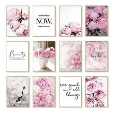 pink, art, Flowers, Wall Art