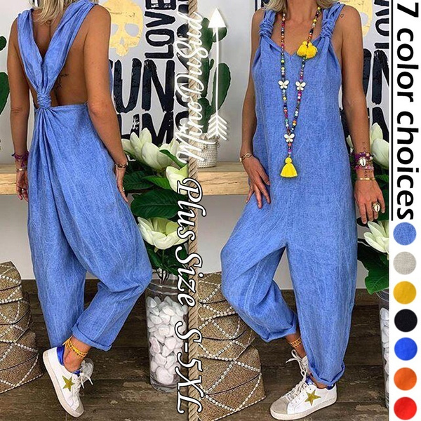 Women Rompers, women long pants, linenjumpsuit, pants