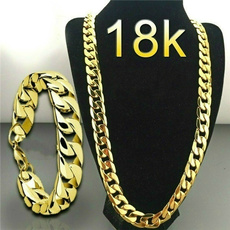 Steel, Chain Necklace, 18k gold, Jewelry