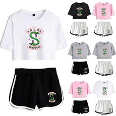 2pieceset, Shorts, crop top, Sleeve