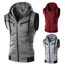hoodedmensvest, polyestermensvest, Plain class, Men's vest