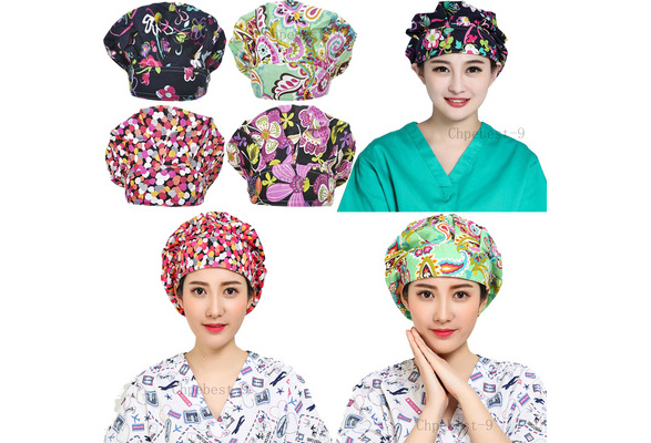 Unisex Surgical Caps Scrub Caps Surgical Bouffant Cap Doctor Nurse Cap Soft Sweat Band Surgeons Cap