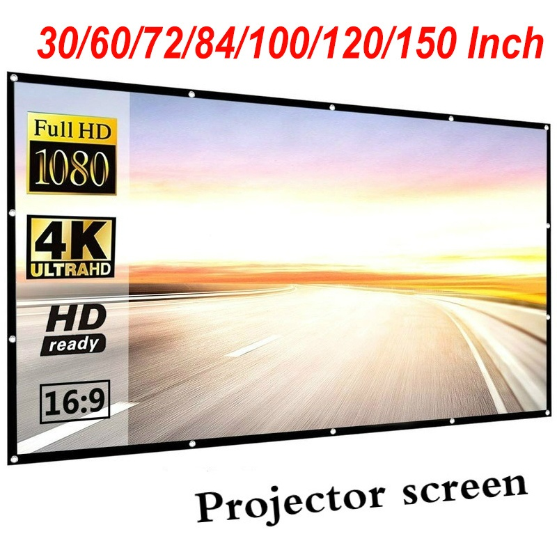 30 60 70 84 100 120 150inch projector screen 16 9 indoor and outdoor collapsible portable movie screen for home office travel party wish dkk